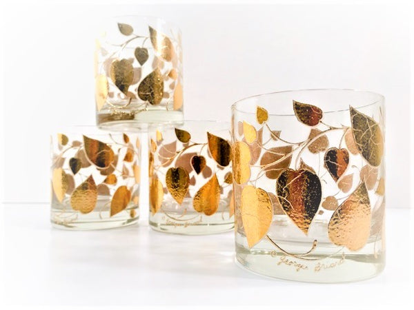Georges Briard Signed Mid-Century Golden Leaves Glasses (Set of 4)