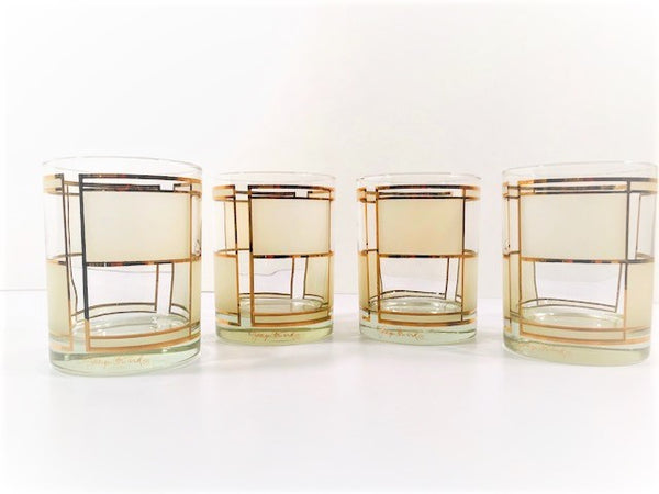 Georges Briard Signed Golden Frosted Square Double Old Fashion Glasses (Set of 4)