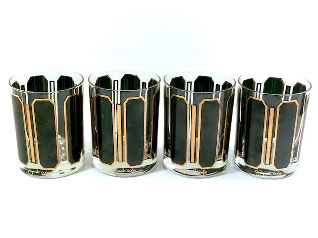 Georges Briard Signed Mid-Century Black and Gold Double Old Fashion Glasses (Set of 4)