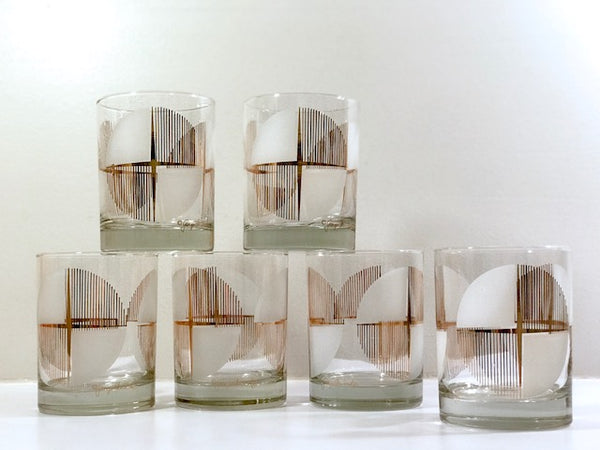Georges Briard Signed Geometric Starburst Double Old Fashion Glasses (Set of 6)
