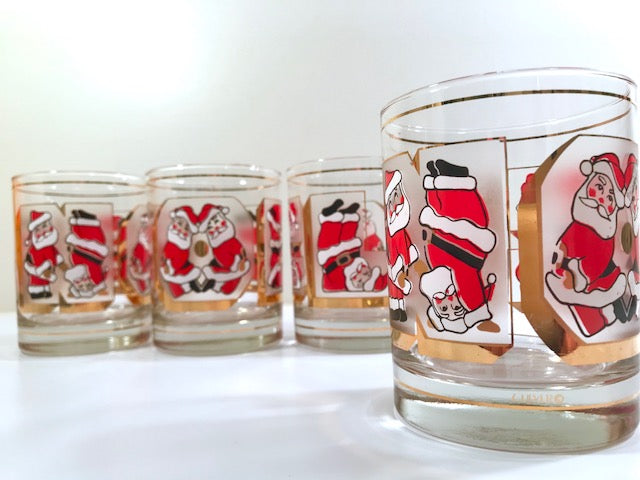 Culver Signed Mid-Century Santa Noel Double Old Fashion Glasses (Set of 4)