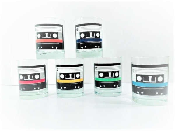 Uncommon Good Retro Mixtape Double Old Fashion Glasses (Set of 6)