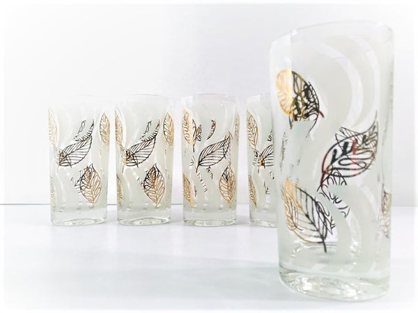 Fred Press Signed Mid-Century Gold and White Modern Leaf Glasses (Set of 5)
