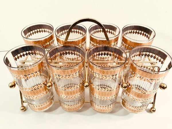 Culver Signed Mid-Century Barcelona 22-Karat Gold Highball Glasses 9-Piece Set