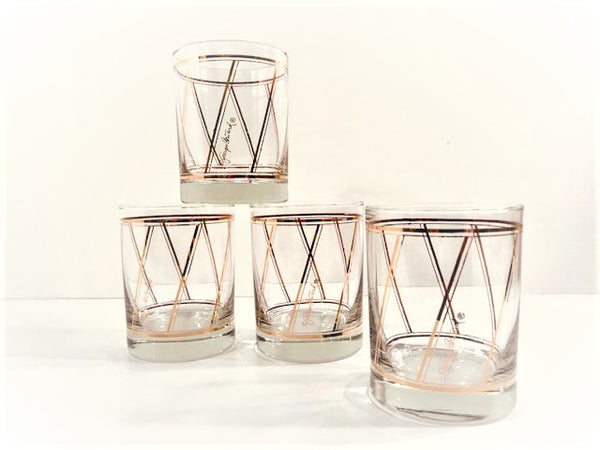 Georges Briard Signed Golden Diagonal Double Old Fashion Glasses (Set of 4)