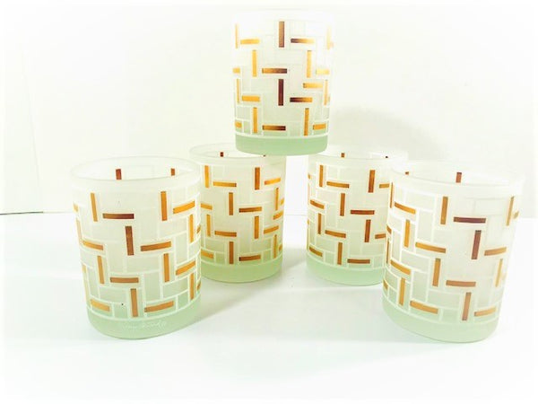 Georges Briard Signed Gold and Frosted Geometric Modern Double Old Fashion Glasses (Set of 5)