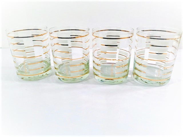 Georges Briard Signed Gold and White Geometric Double Old Fashion Glasses (Set of 4)