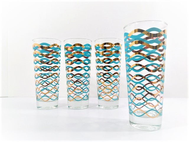 Libbey Mid-Century 22-Karat Gold and Aqua Waves Tall Collins Glasses (Set of 4)