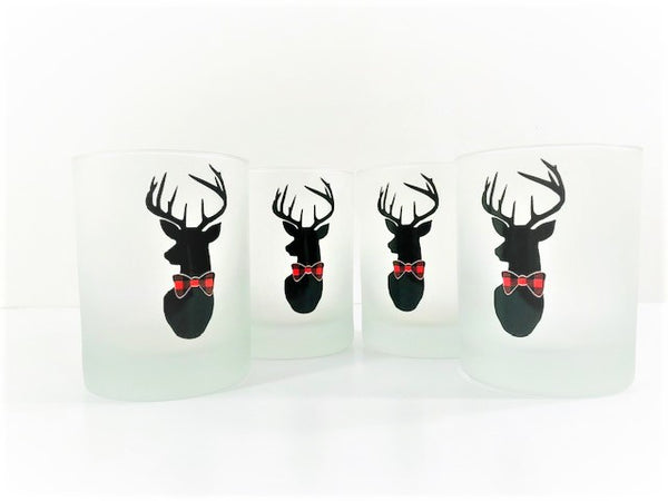 Culver Signed Mid-Century Plaid Reindeer Double Old Fashion Glasses (Set of 4)