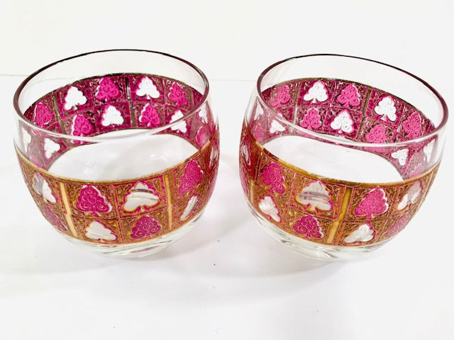 Culver - Signed Mid-Century 22 Karat Gold and Amethyst Roly Poly Glasses (Set of 2)