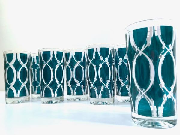 Vogue Crystal Glass Company Mid-Century Green and White Glasses (Set of 8)