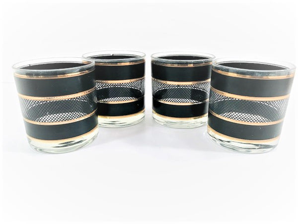 Georges Briard Mid-Century Gold and Black Bands Netting Glasses (Set of 4)