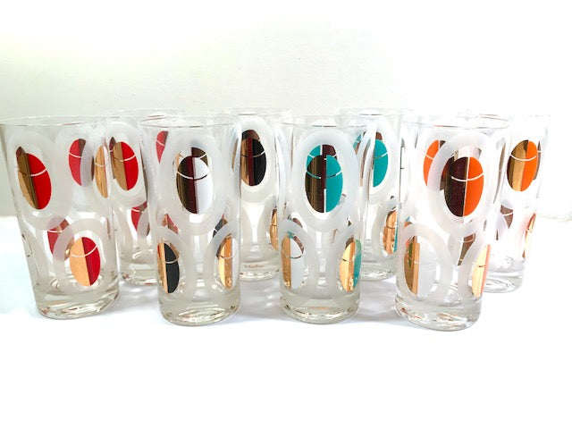 Fred Press Signed Mod Circle Glasses and Carrier (8 glasses)