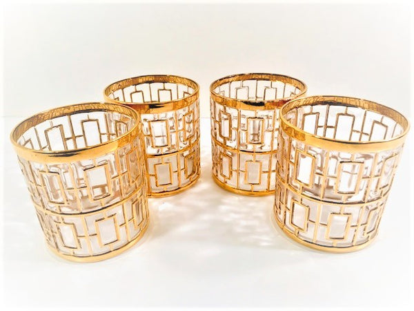 Imperial Glass - Shoji 22-Karat Gold Mid-Century Double Old Fashion Glasses (Set of 4)
