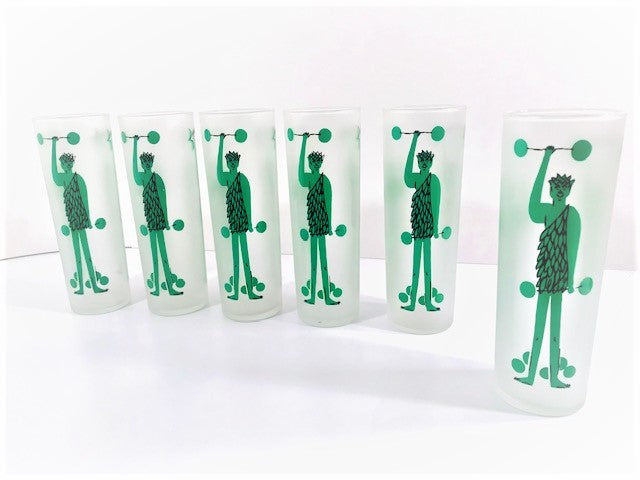 Libbey Vintage Green Giant Tall Collins Glasses (Set of 6)