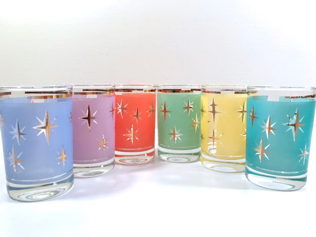 Mid-Century Atomic North Star Juice Cocktail Glasses (Set of 6)