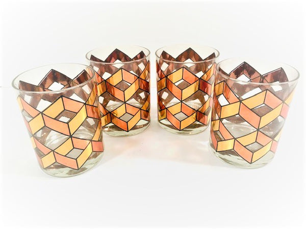 Mid-Century Gold and Copper Herringbone Double Old Fashion Glasses (Set of 4)