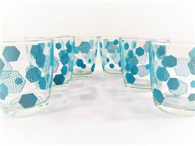 Mid-Century Atomic Turquoise Honeycomb Glasses (Set of 6)