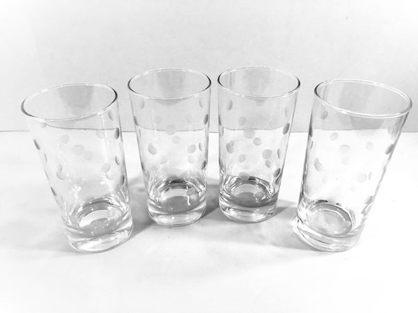 Vintage Etched Dot Highball Glasses (Set of 4)