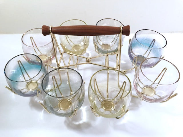 Federal Glass Mid-Century Pastel Somewhere Over the Rainbow Roly Poly Bar Set (8 Glasses with Carrier)