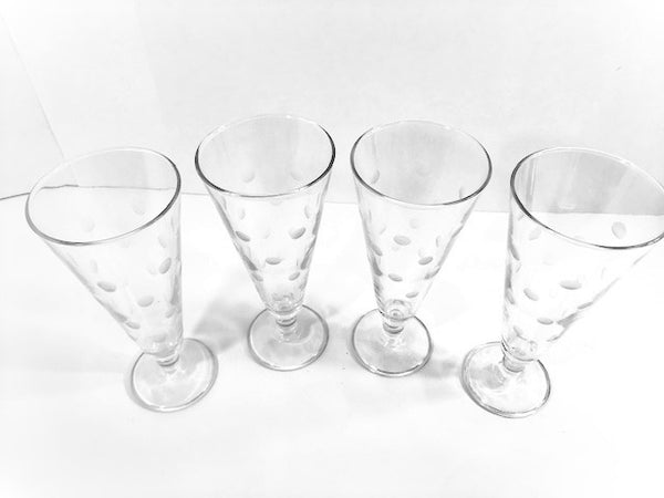 Vintage Etched Dot Pilsner - Champagne Glasses (Set of 4)