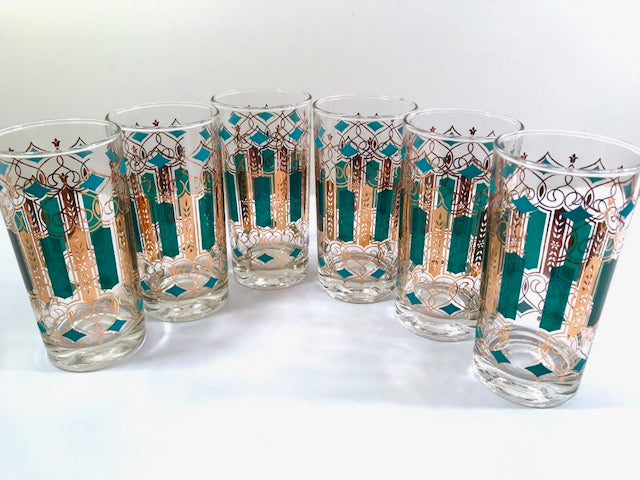 Mid-Century Green, Turquoise and 22-Karat Gold Highball Glasses (Set of 6)