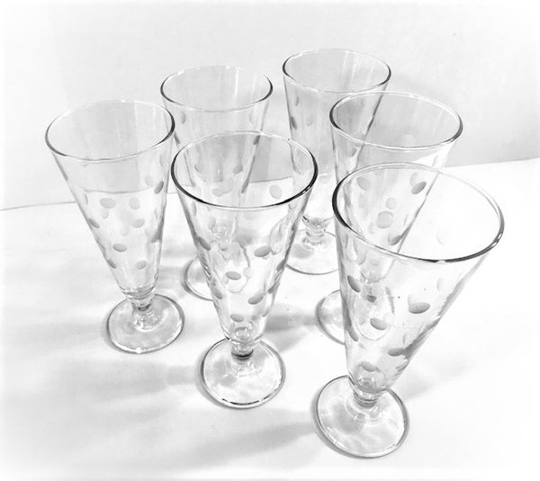 Vintage Etched Dot Pilsner - Champagne Glasses (Set of 6)
