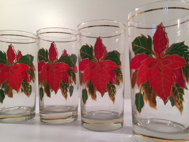 Culver Signed Mid-Century Poinsettia Glasses  (Set of 4 with Original Box)