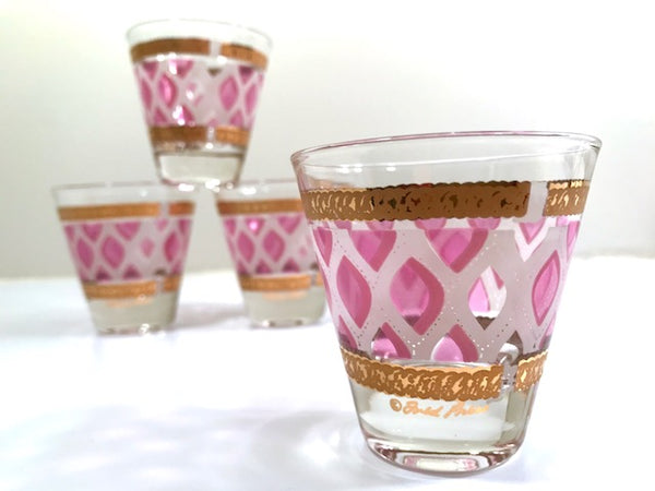 Fred Press Signed Mid-Century Pink and 22-Karat Gold Whiskey Glasses (Set of 4)