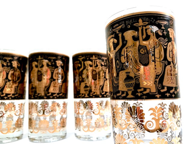 Georges Briard Signed Mid-Century Egyptian Highball Glasses (Set of 4)