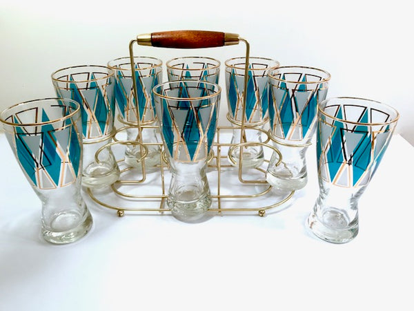 Libbey Mid-Century Emerald Blue and 22-Karat Gold Diamond Pilsner Glasses With Atomic Carrier (Set of 8)