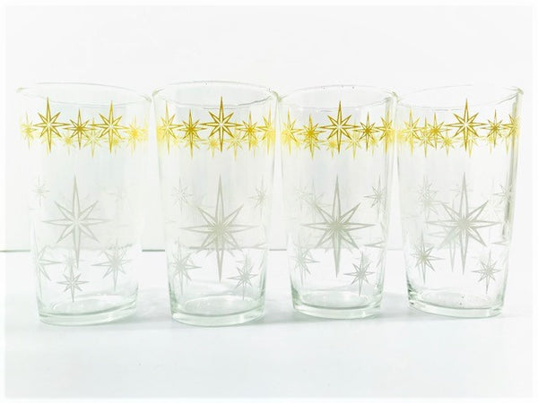 Hazel Atlas Mid-Century Yellow and White Atomic Star Glasses (Set of 4)