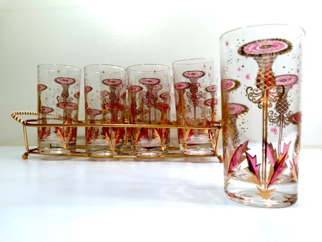 Gay Fad Signed Mid-Century Gold and Purple Desert Flower Glasses With Carrier (Set of 8)