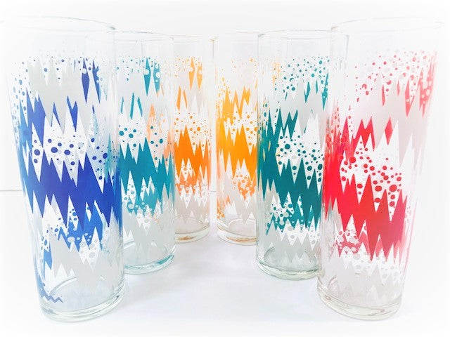 Libbey Retro Lightning Bolt Tall Collins Glasses (Set of 6)