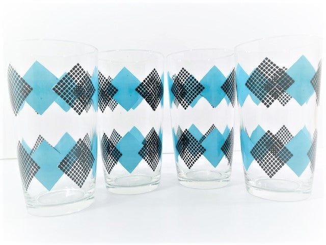 Federal Glass Mid-Century Black and Blue Argyle Glasses (Set of 4)