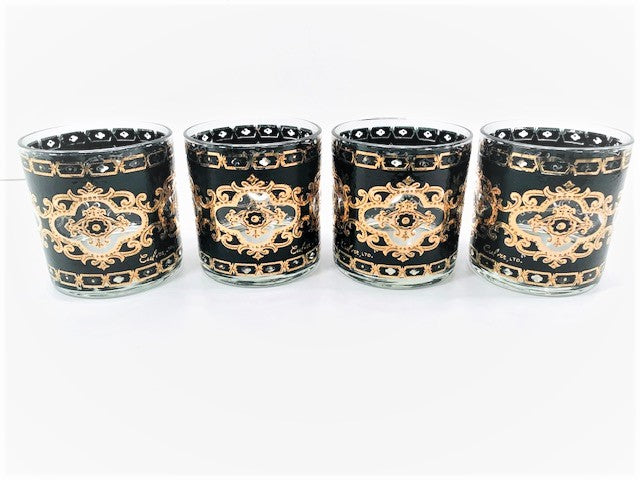 Culver Signed Mid-Century 22-Karat Gold and Black Baroque Glasses (Set of 4)