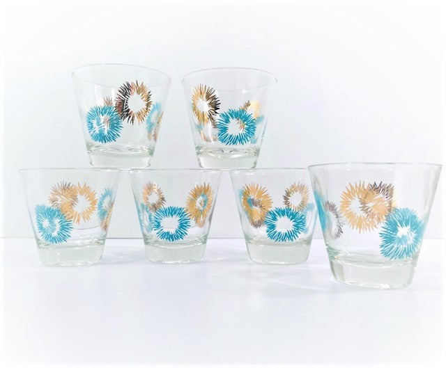 Mid-Century Gold and Turquoise Atomic Burst Glasses (Set of 6)