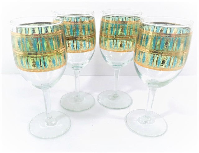 Starlyte Signed Mid-Century 22-Karat Gold and Green Wine Glasses (Set of 4)