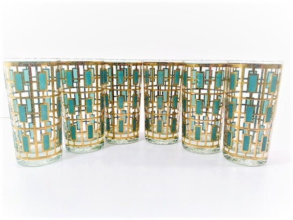 Culver Signed Mid-Century 22-Karat Gold and Green Shoji Style Highball Glasses (Set of 6)