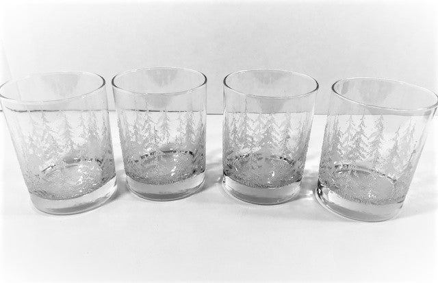 Vintage Frost Pines Double Old Fashion Glasses (Set of 4)