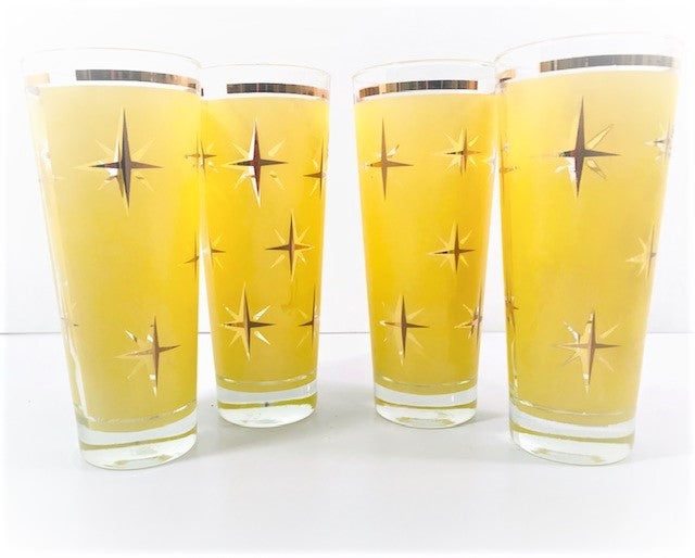 Bartlett Collins Mid-Century Yellow Atomic North Star Tall Collins Glasses (Set of 4)