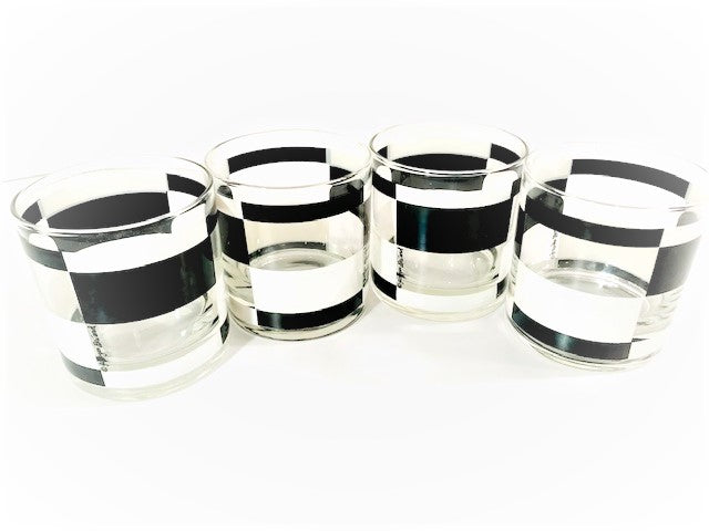 Georges Briard Signed Mid-Century Black and White Abstract Glasses (Set of 4)