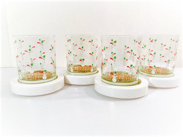 Georges Briard Signed 8-Piece Snowman Double Old Fashion Glasses