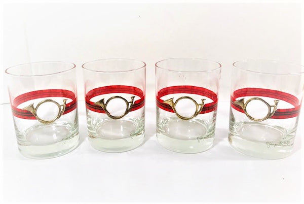 Georges Briard Signed Christmas Horn Double Old Fashion Glasses (Set of 4)