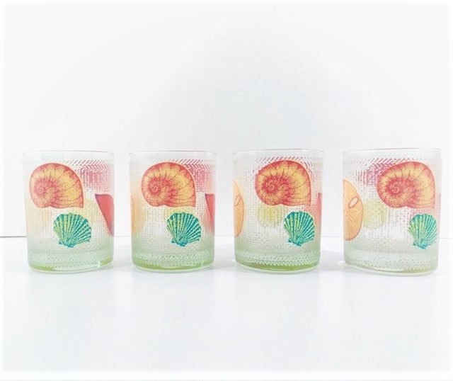 Culver Signed Mid-Century Seaside Double Old Fashion Glasses (Set of 4)