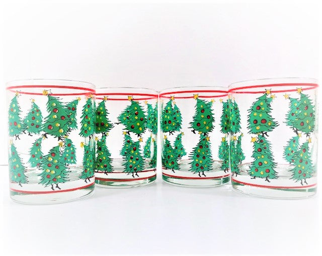 Georges Briard Signed Dr Seuss Christmas Tree Double Old Fashion Glasses (Set of 4)