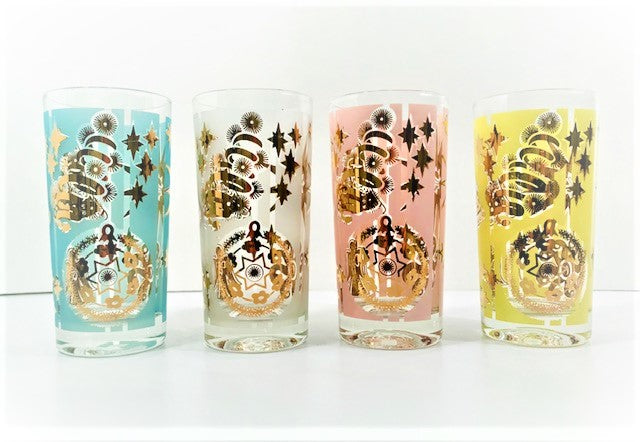 Mid-Century Atomic Christmas Ornament Highball Glasses (Set of 4)