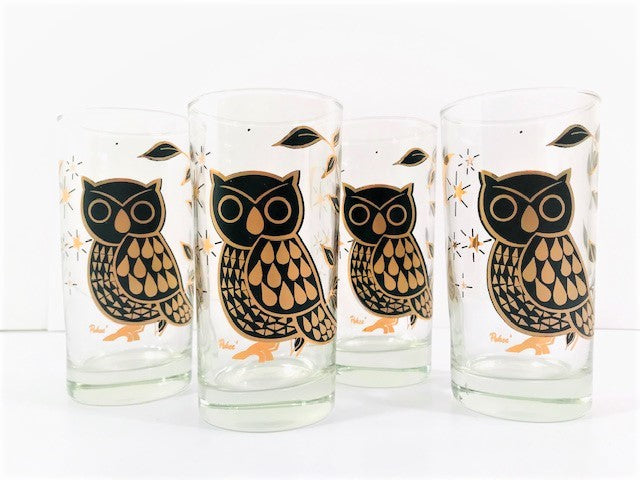 Bartlett Collins Glass Pokee Signed Retro Gold and Black Owl Highball Glasses (Set of 4)