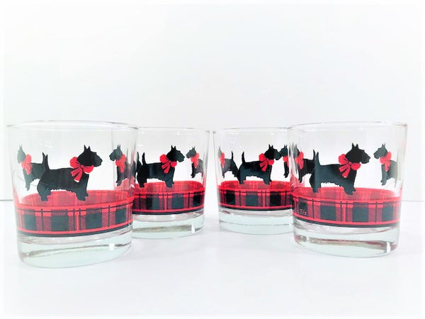 Anchor Hocking Fitz Signed Scottie Dog Glasses (Set of 4)