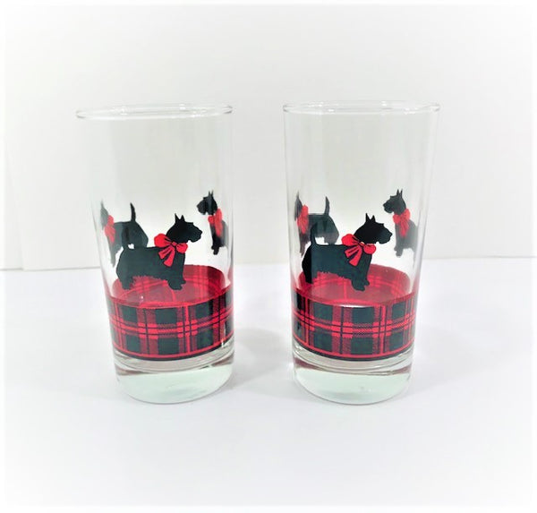Anchor Hocking Fitz Signed Scottie Dog Highball Glasses (Set of 2)